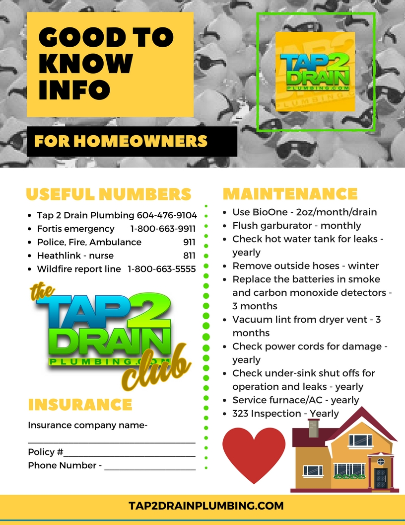 Important information for homeowners